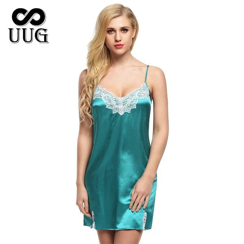 UUG Elegant Lace Home Service Simulation Silk Split Ends Sexy Suspenders Nightdress Female Spring