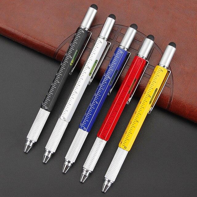 Creative multi-function metal ball-point pen hexagon pen liuhe a scale