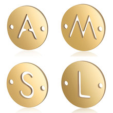 5pcs/lot Initial Name diy Jewelry Connector Charm Wholesale 100% Stainless Steel Alphabet Charms 26 Letters Connectors