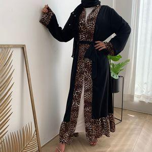 Leopard Print Ruffles Muslim Abaya Dress Women Lace-up Open Abayas Moroccan Kaftan Dejellab Musulman Ensembles Islamic Clothing