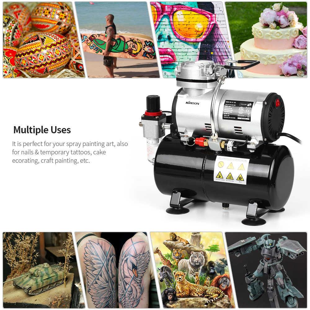 Kkmoon profissional 1/6 hp pistão airbrush pistola de óleo menos silencioso bomba alta pressão tatuagem manicure pulverização ar compressor