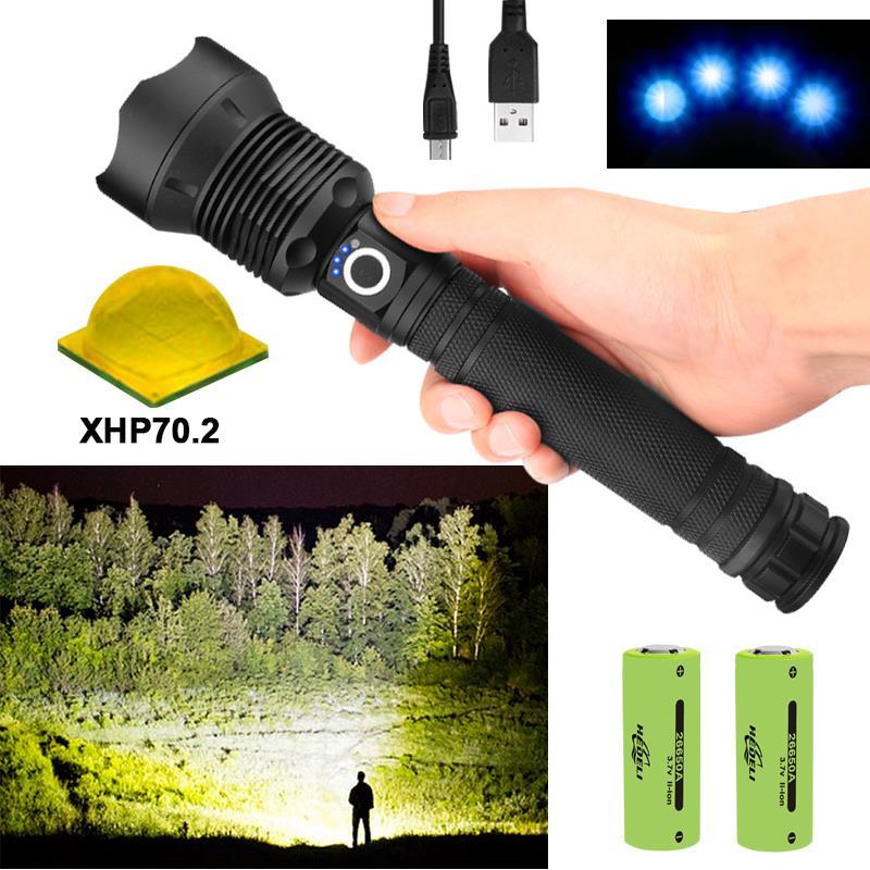 Lampe de chasse à main, 250000 éblouissement xhp70.2, led la plus puissante, torche 18650 ou 26650 usb, xhp70, xhp50, lanterne 18650, lampe de chasse,