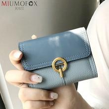 Full-Grain Leather Short Wallet Women Fashion Designer Credit Card Holder Zipper