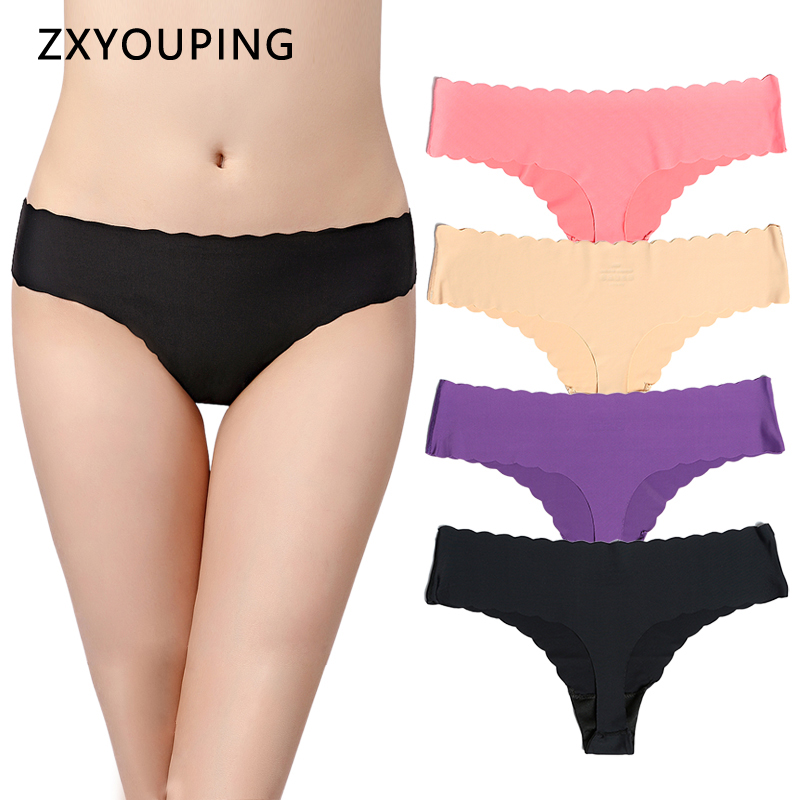 Ruffles Seamless Thongs Women And G String Sexy Panties Female Underwear Tangas Ultra-thin One-piece Lingerie Solid XS-L US Size