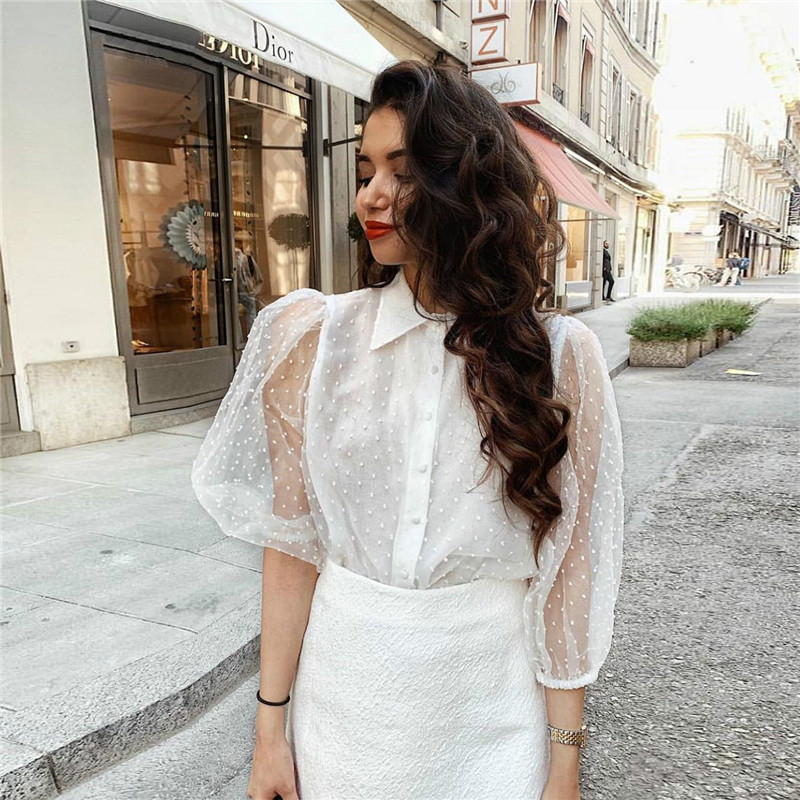 Women Sexy Elegant White Blouse Transparent Turn Down Collar Long Sleeve Female Shirts Stylish Office Wear Tops Blusas