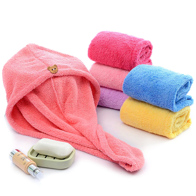 Girl's Hair Drying Hat Quick-dry Hair Towel Cap Hat Bath Hat Microfiber Solid Towel Cap Super Absorption Turban Hair Dry Cap