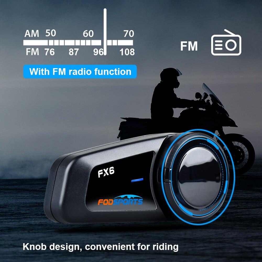 Fodsports FX6 casco de la motocicleta intercomunicador de Bluetooth Moto casco auricular 1000m 6 piloto BT intercomunicador interfono Radio FM