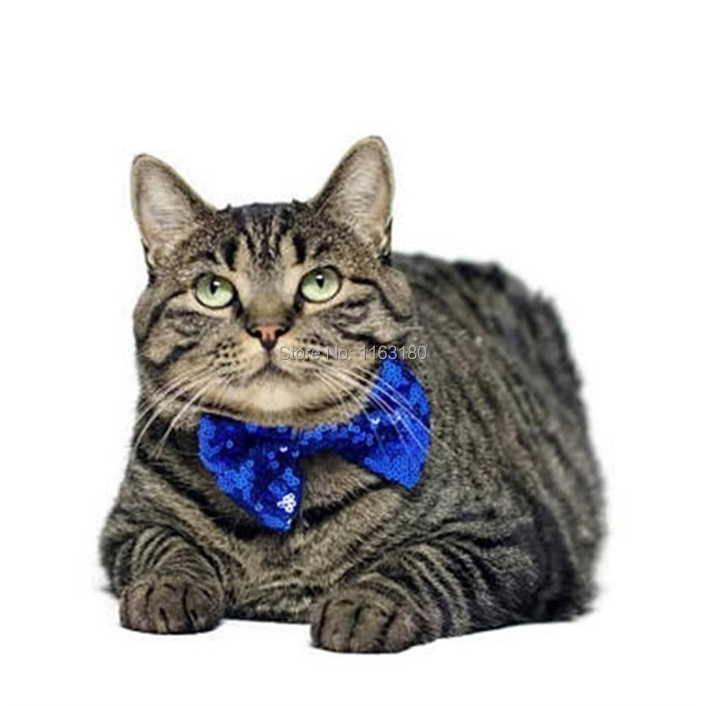 100 pcs/lot  Fashion Sequin Pet Bowtie Cat Bow Tie Pet Collar Tie For Birthday Christmas Pet Clothing Accessories Pet Supplies