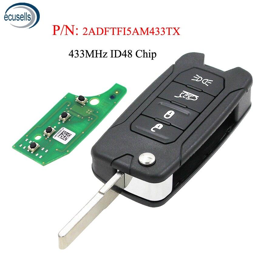 Складной дистанционный ключ для Jeep Renegade 2016-2018 433 МГц ID48 чип Megamos AES - 2ADFTFI5AM433TX SIP22 blade