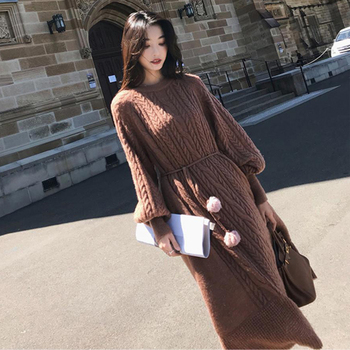 Autumn Long Sweater Dress Women Knitted Dresses Winter Fashion Maxi Clothing