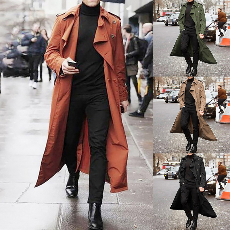 MoneRffi Autumn Winter Mens Jancket and Coats 2020 Brand Treanch Coats Stand Casual Overcoat Solid Color Slim Long Coats Outwear