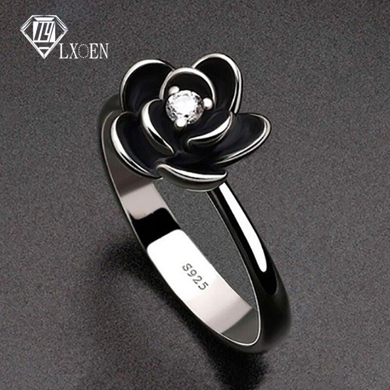 Anel de noivado de aço inoxidável para a festa da menina melhor presente jóias anillos flor simples gótico anéis de festa para mulher com preto