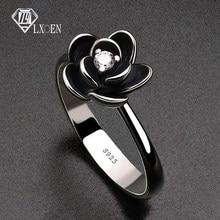 Anéis de festa góticos para mulheres, flores simples com anel de noivado em aço inoxidável para meninas e festas, melhor presente, joia