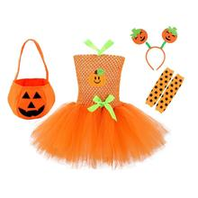 Girl Halloween Pumpkin Tutu Dress Cosplay Party Dresses Clothes