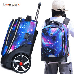 school bag with rolling Lazy luggage trolly carry on shoulder bag Cabin box travel suitcase student backpack on big wheels