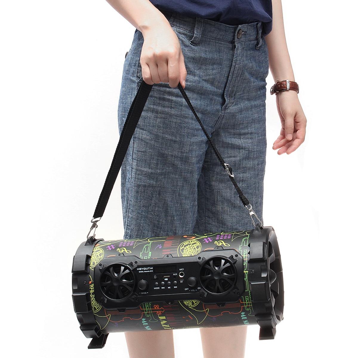 Alto-falante sem fio bluetooth estéreo baixo alto-falante portátil de alta fidelidade subwoofer aux usb tf cartão fm rádio ao ar livre carro karaoke jogador