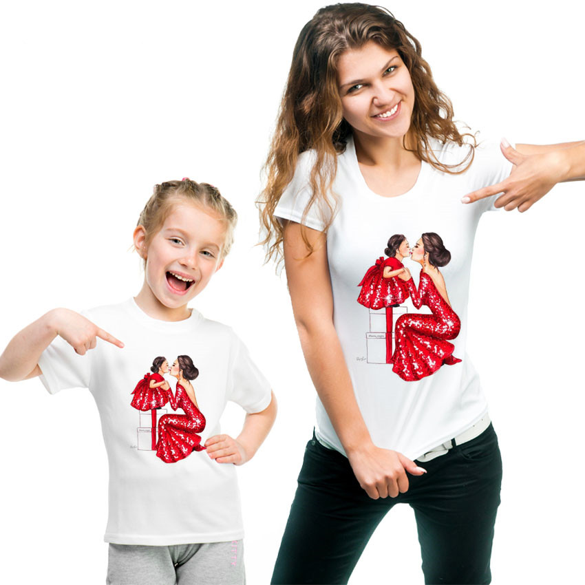 100% Cotton Love Gift Mother Daughter Clothes Family T Shirt QT-1924