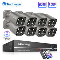 Techage H.265 8CH 5MP HD POE NVR Kit CCTV Sicherheit System Zwei Weg Audio AI IP Kamera Outdoor P2P Video überwachung Set 3TB HDD