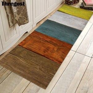 Image 4 - Thregost 스트라이프 인쇄 긴 층 매트 3D 카펫기도 양탄자 이슬람 실내 현관 매트 메모리 폼 소프트 주방 카펫