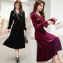 2020 Spring Vintage Bottoming Loose Black Velvet Dress Large Size Autumn Winter For Fat Femal Hepburn Party Small Dress 5XL(China)