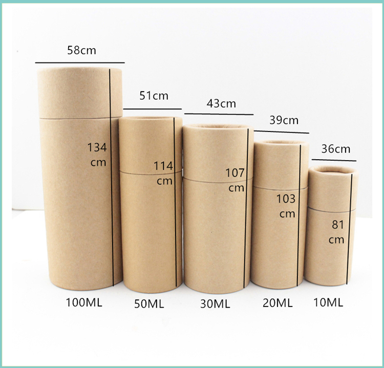 100pc /20/30/50/100ml Oil Bottle Packaging Box Kraft Paper Tube Packing Box Dropper Bottle Round Cardboard Lipstick Perfume Box
