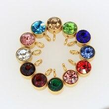Breloques de pierre de naissance en acier inoxydable, pour la fabrication de bijoux, or Rose, collier pendentif, porte-clés, accessoires de bricolage, 12 pièces/lot