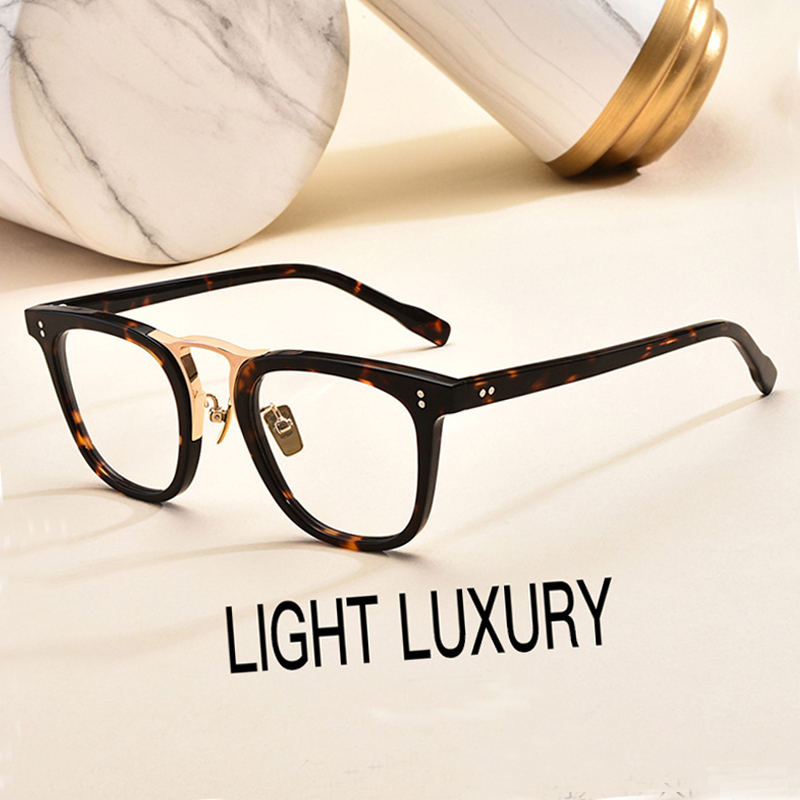 2020 High Quality Vintage Rectangle Glasses Frame Men Acetate Titanium Optical Prescription Eyeglasses Women Transparent Eyewear