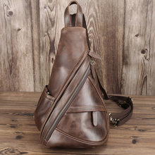 Luxury leather leisure triangle backpack men and women travel leather backpack suitable for Ipad small backpack portable men