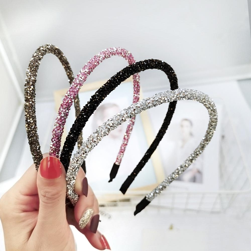 Fashion Korea Crystal Soft Headband For Women Rhinestone Hairband Beads Bezel Girls Hair Accessories Simple Headwear