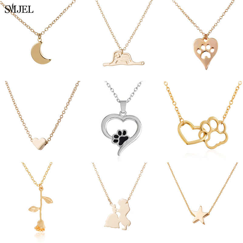 SMJEL New Punk Fashion Minimalist Star Pendant Clavicle Necklaces For Women Jewelry Gift Paw Heart Flower Necklace Chain Collier