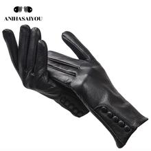 High-grade genuine leather gloves women warm women #8217 s leather gloves Side buckle genuine leather mittens women #8217 s winter -2207 cheap anihasaiyou Adult Solid Wrist Fashion Gloves Mittens