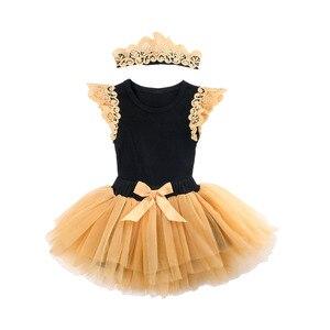 Комплект одежды принцессы для новорожденных девочек от 0 до 24 месяцев, кружевной комбинезон с рукавами-крылышками, фатиновая юбка-пачка пов...
