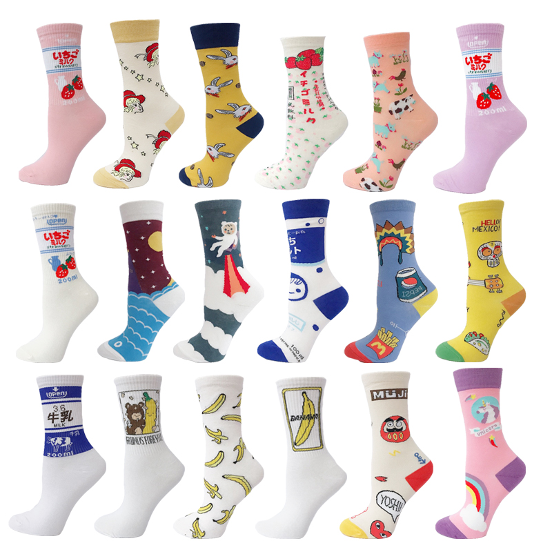 VPM New Cotton Women's Socks Harajuku Colorful Kawaii Novelty Cute Cartoon Funny Strawberry Unicorn Skull  E Girl Sock Gifts