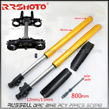 800mm Upside Down Front Fork Shock Suspension with handlebar triple For Motocorss Off Road CRF70 Style Dirt Pit Bike 12mm/15mm