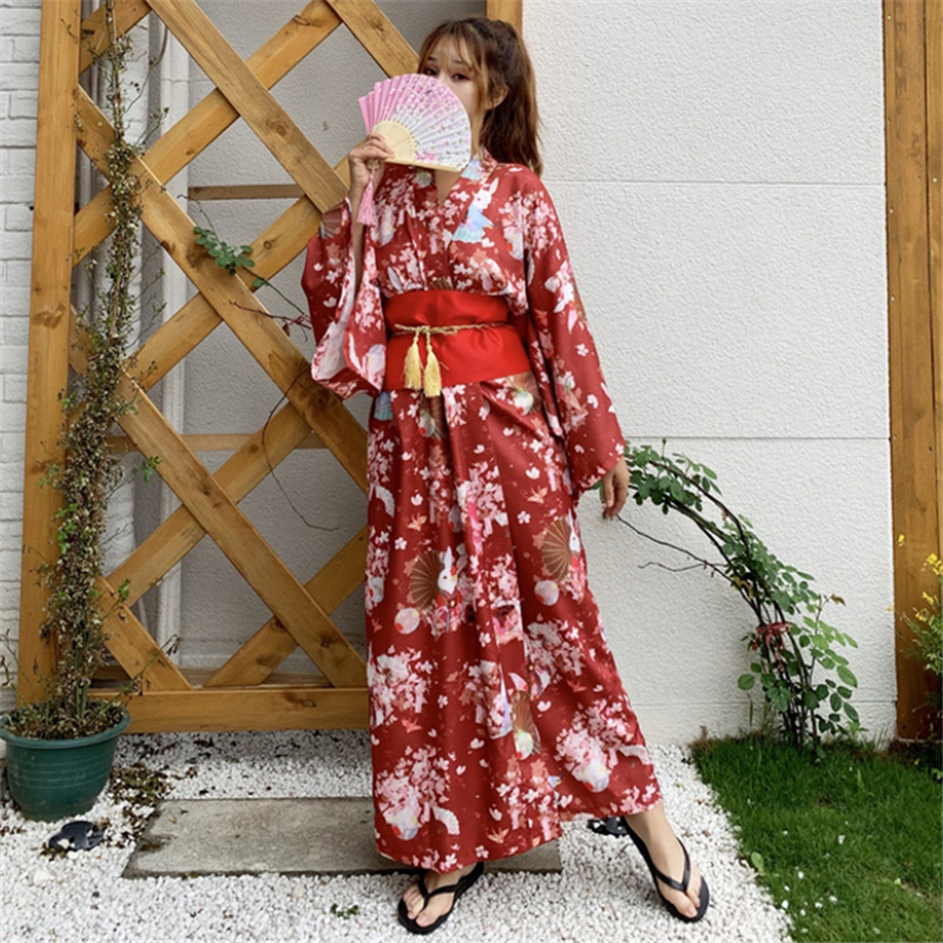 Festival Of Sakura Kimono Dress Women Japanese Style Haori Floral Print Party Retro Traditioal Japan Clothing Gesia Yukata Fancy