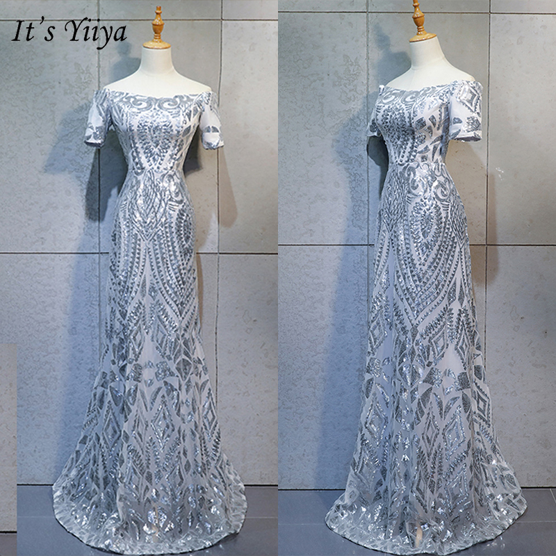 It's Yiiya Evening Dress 2019 Short Sleeve Boat Neck Sequins Trumpet Dresses Contrast Color Elegant Formal Long Dresess E1018