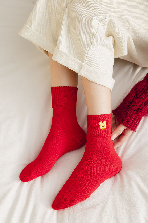 Women Girl Cute Cartoon Color Matching Diamond Plaid Lace Tube Warm Cotton Socks