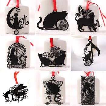 Śliczne czarne metalowe kotki Bookmarker koty zwierzęce zakładka do książek do książek spinacz do papieru nauczyciele prezent dla studenta biurowe szkolne artykuły papiernicze tanie i dobre opinie MROOFUL CN (pochodzenie) cartoon Black Metal Cat Bookmarker Animal Cats Book Mark Book Mark For Books Paper Clip Teachers Students Gift