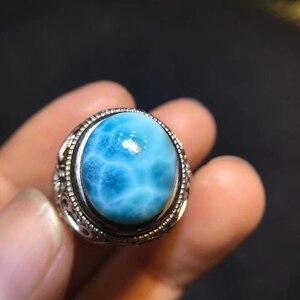 Image 5 - Certyfikat naturalny Larimar srebro regulowany rozmiar damski pierścionek 15x12mm Party prezent miłosny 14x11mm luksusowy kryształ pierścionek AAAAA