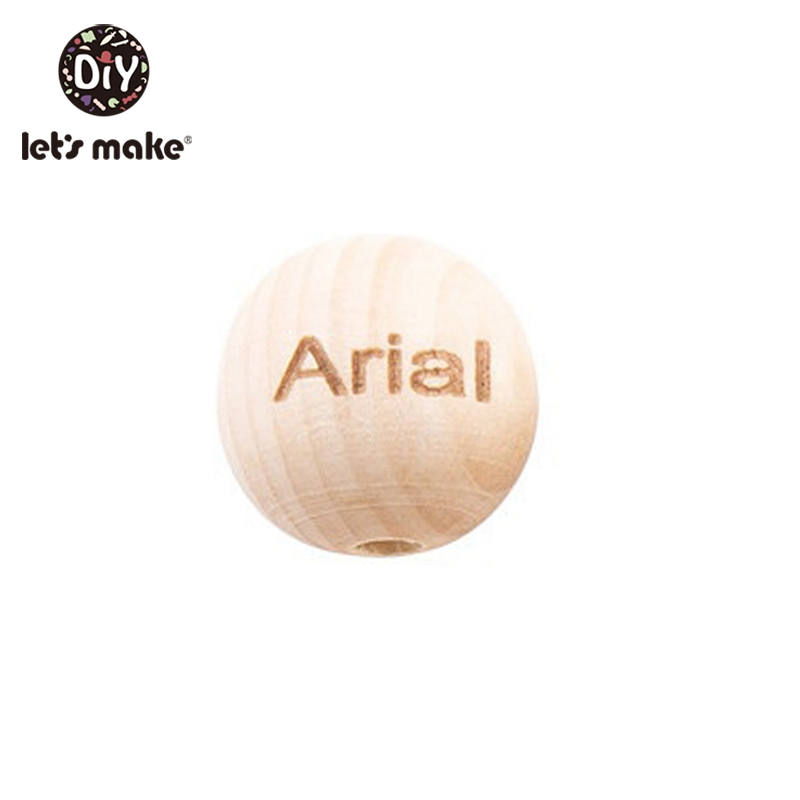 Let'S Make 100Pc Customize 20Mm Baby Rattle Engraved Logo Wooden DIY Teether Toys Bpa Free Wood Beads For Baby Teether Toys