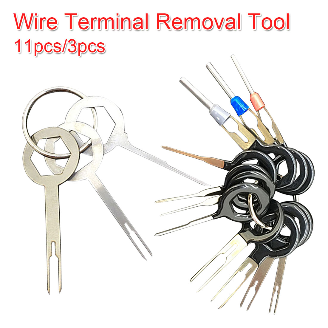 11pcs/3pcs Terminal Removal Tools Car Electrical Wiring Crimp Connector Pin Extractor Kit