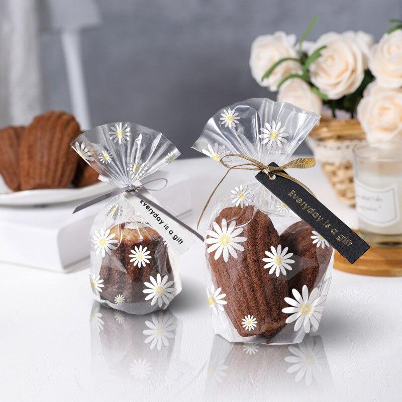 100 шт. прозрачные пластиковые пакеты с хризантемой для конфет, печенья, выпечки, свадебных подарков, ручной работы, «сделай сам», рождественс...