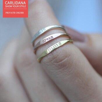 CARLIDANA custom flat ring engraving any letter IPG14K gold couple anillo de compromiso de acero inoxidable sistema de riego de jardín trípode de acero inoxidable aspersor de impacto sistema de riego de flores de 360 grados