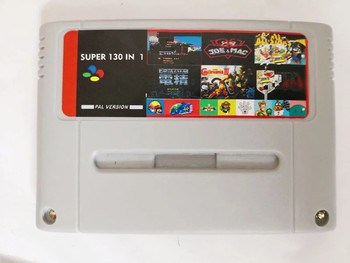 Transparent red Super 130 in 1 Games with Axelay Captain Commando Castlevania IV Sim City Samurai Shodown