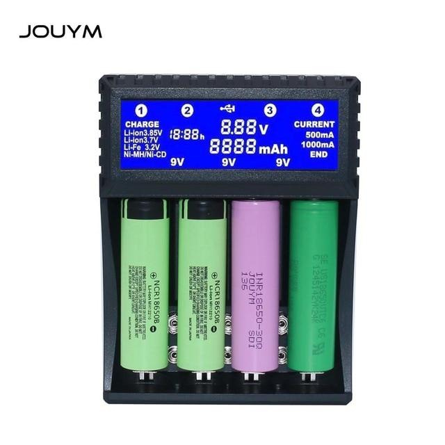 JOUYM Smart 18650 Battery Charger,Compatible 1.2V 3.7V 3.2V 9V AA AAA  6F22 PP3 NiMH li ion 16340 26650 14500 18650 Battery