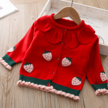 Jacket Sweater Cardigan Baby-Girls' Clothing Knitted Spring Strawberry Children's 1-4t