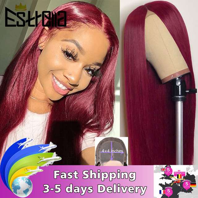 Brazilian Straight Lace Closure Human Hair Wigs 8 24 Inches Pre Plucked with Baby Hair 4x4 Closure Wig 150% Remy Human Hair Wigs