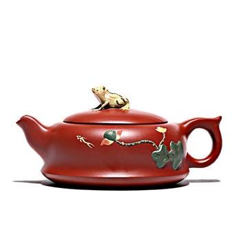 Ore mud lotus teapot yixing purple clay pot zisha kettle color handpainted teaware
