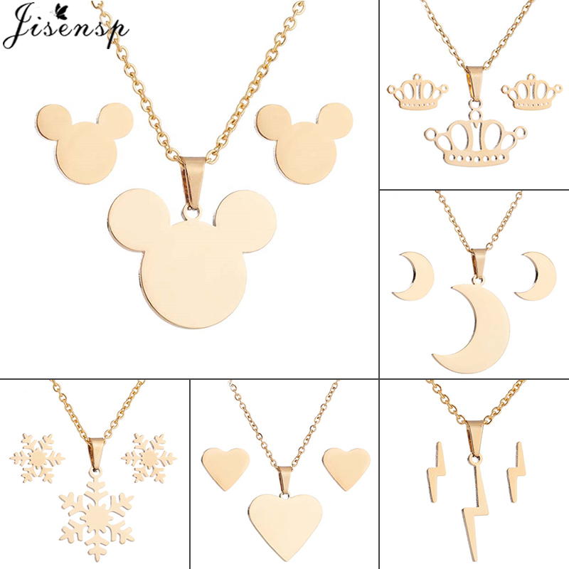 Jisensp Collier Femme <font><b>2019</b></font> Cartoon Mickey Stainless Steel <font><b>Jewelry</b></font> <font><b>Sets</b></font> <font><b>for</b></font> Women Heart Necklace Earrings <font><b>Set</b></font> Girls Birthday Gift image