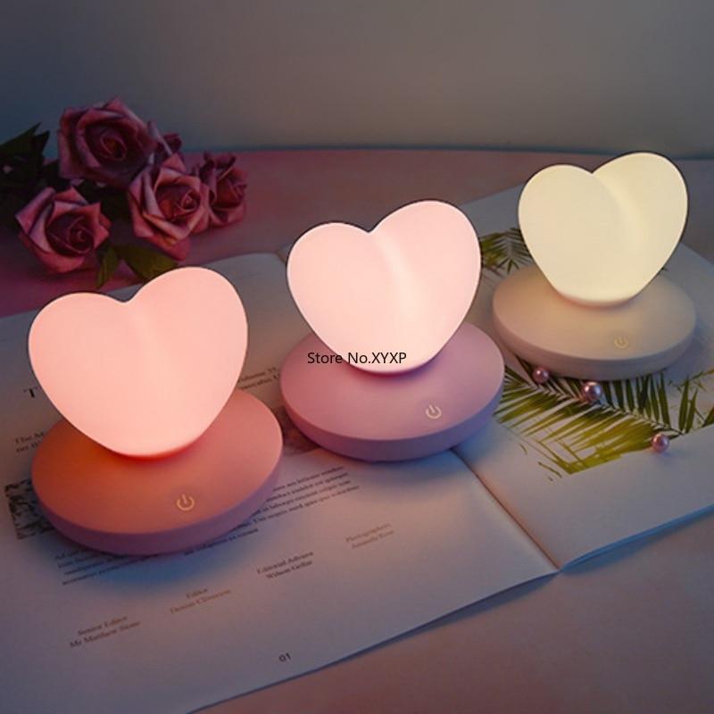 LED Touch Control Table Lamp USB Rechargable girl Modeling lamp Energy saving Romantic Love Heart shape Decoration Night Light